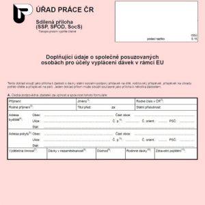Formulář: Doplňující údaje o společně posuzovaných osobách pro účely vyplácení dávek v rámci EU 2017