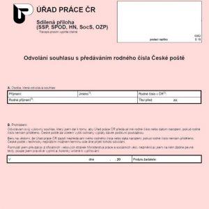 Formulář: Odvolání souhlasu s předáváním rodného čísla České poště