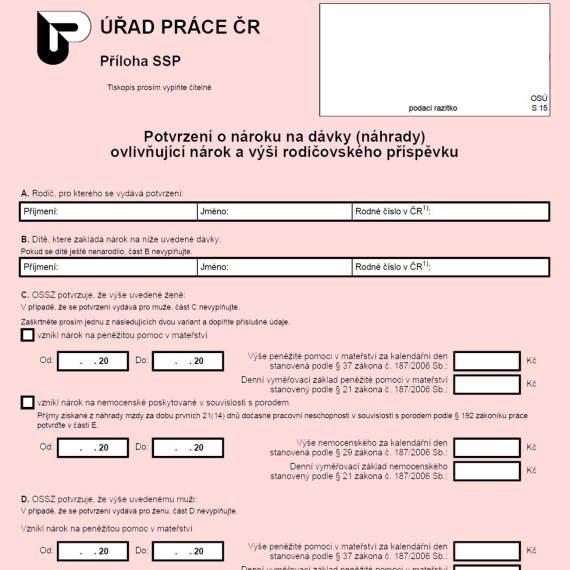 Formulář: Potvrzení o nároku na dávky ovlivňující nárok a výši rodičovského příspěvku