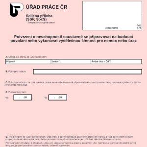 Formulář: Potvrzení o neschopnosti vykonávat výdělečnou činnost pro nemoc nebo úraz