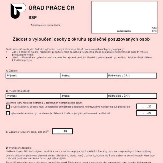 Formulář: Žádost o vyloučení osoby z okruhu společně posuzovaných osob