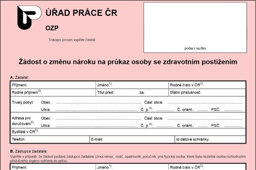 Formulář: Změna průkazu TP, ZTP, ZTP/P